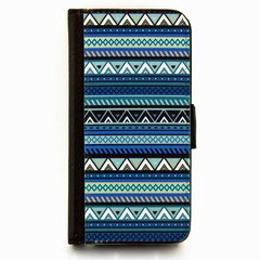 Blue Aztec Wallet Phone Case - for iPhone & Samsung Galaxy phones