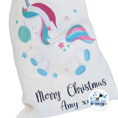 Unicorn Merry Christmas Present Gift Sack