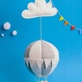Large Nightlight Hot Air Balloon Mobile Grey/White