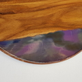 Resin art cheeseboard - round. Purple.