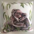 Cushion Cover with Koalas Australian wildlife print on Linen 40cm square