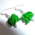 Green elephant earrings