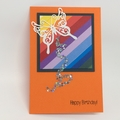 Birthday Card - Orange, Colour Stripes, Butterfly and stars trail