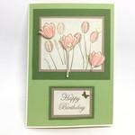 Birthday Card - Tulips on Green