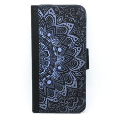 Black & Blue Mandala Wallet Phone Case - for iPhone & Samsung Galaxy phones