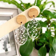 Clear Bird Dangles with Bamboo Top