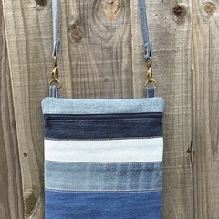Striped Upcycled Denim Cross Body Bag
