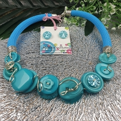 Teal Turquoise - Button Fusion Necklace - Button Jewellery - Earrings