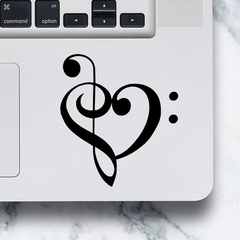 LAPTOP DECAL - Treble & Bass Clef Heart