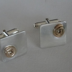 Birthday, Anniversary, Wedding Sterling silver and 14k gold-filled cufflinks