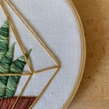 Hand stitched embroidered succulent art wall art in a hanging hoop