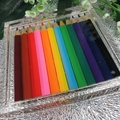 Square Mug Coasters -  Coloured Pencils For Drink or Paperweight - SINGLE- Resin