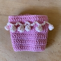 Crochet Take Away Cup Cosy, bright, decorative, cotton, pink on pink, pom pom