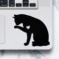 LAPTOP DECAL - Cat Licking Paw - Cat Vinyl Decal