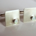 Birthday, Groom, Wedding Sterling silver and synthetic opal cufflinks