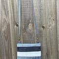 Striped Upcycled Denim Cross Body Bag