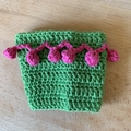 Crochet Take Away Cup Cosy, bright, decorative, cotton, pink on green, pom pom