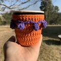 Crochet Take Away Cup Cosy, bright, decorative, cotton, purple & orange, pom pom