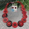 Red Black with a sparkle - Button Necklace - Earrings