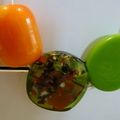 Orange, green resin necklace
