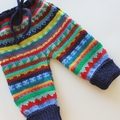 Navy knitted cuffed pants - Size 3 months - Hand knitted in Pure Wool
