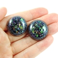 Large Glitter Studs - black, purple, blue & green holographic mix