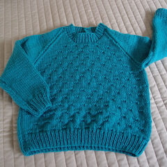 SIZE 4-5 Hand knitted jumper:  Light weight, warm, unisex