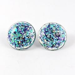 Large Glitter Studs - blue, purple & silver holographic mix