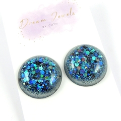 Large Glitter Studs - blue and black holographic mix