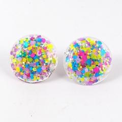 Large Glitter Studs - pink, yellow, blue & purple mix