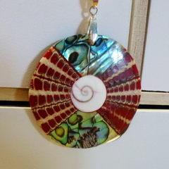 Recycled shell pendant on white cord