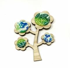 Kimono Tree Brooch - Greens