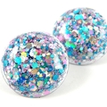 Large Glitter Studs - pink, blue & silver holographic mix