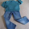 SIZE 4-5 Hand knitted jumper:  Light weight, warm, unisex