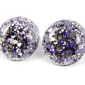 Large Glitter Studs -  purple and gold metallic mix