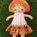 Sweet Mushroom girl doll. Desert Rose.
