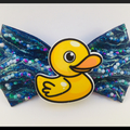 YELLOW RUBBER DUCKIE, hair bow comes as a beautiful hair tie