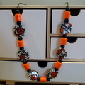 Orange, black and white beaded necklace