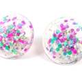 Large Glitter Studs - pink, green, purple iridescent mix