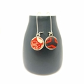 Double Sided Earrings - Fabric Button Kimono Floral with Red Stripes