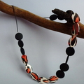 Terracotta, black and white wooden necklace