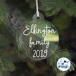 Family Xmas Bauble, Personalised Christmas  Decoration Name Keepsake 2019