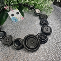 Black Beauty Sparkling free-formed wired Button Necklace - Chunky