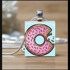 """Yummy Donut"", scrabble tile pendant. Comes with a 18inch silver chain"
