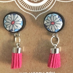 Daisy Days Wooden Earrings with Tassel