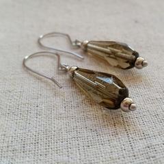 FREE POST Smokey topaz glass bead earrings