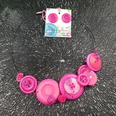Hot Pink Choker Wire Necklace - Button Jewellery - Earrings