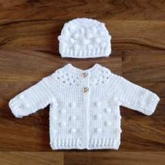 White Hand Crocheted Baby Bobble Cardigan Jacket & Beanie 0-2 months