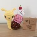 Banana Split snail ice cream softie handmade crochet plushie FREE POSTAGE
