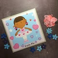 'Cutie Pie Ballerina' Silver Pearlised Birthday Card